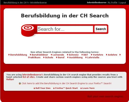 Eigene Suchmaschine - Berufsbildung in der Schweiz
